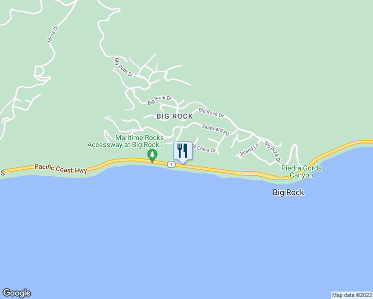 map of restaurants, bars, coffee shops, grocery stores, and more near 20522 Roca Chica Drive in Malibu