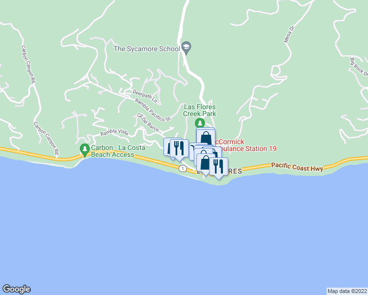 map of restaurants, bars, coffee shops, grocery stores, and more near 3855 Rambla Pacifico Street in Malibu