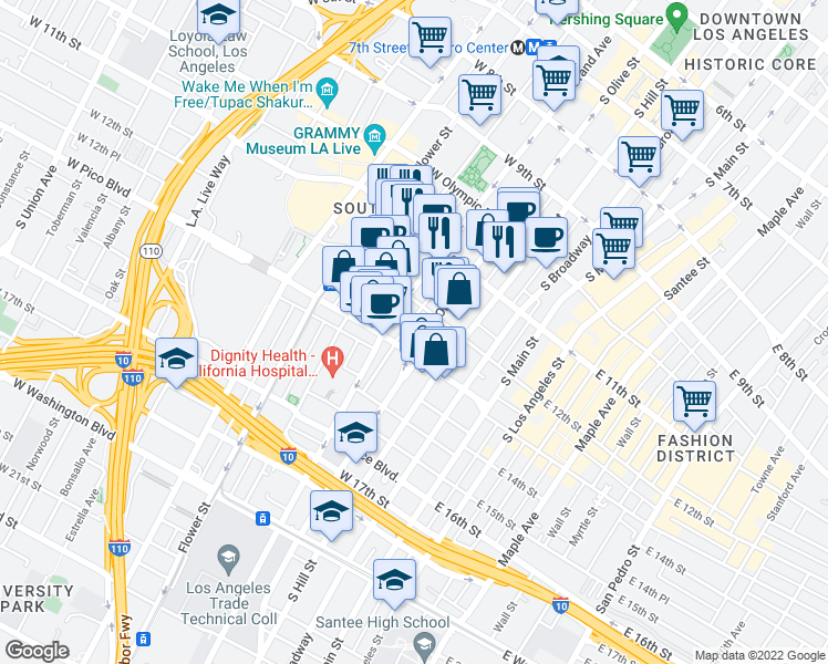 map of restaurants, bars, coffee shops, grocery stores, and more near 1243 South Olive Street in Los Angeles
