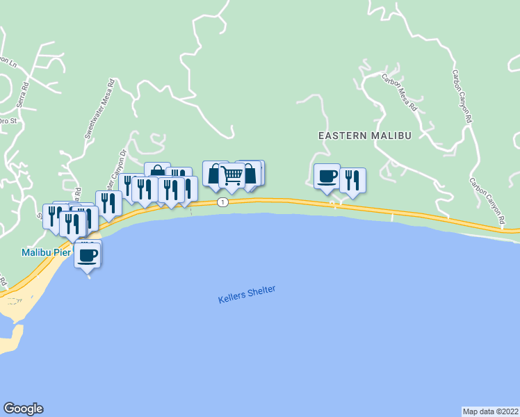 map of restaurants, bars, coffee shops, grocery stores, and more near 22506 Pacific Coast Highway in Malibu