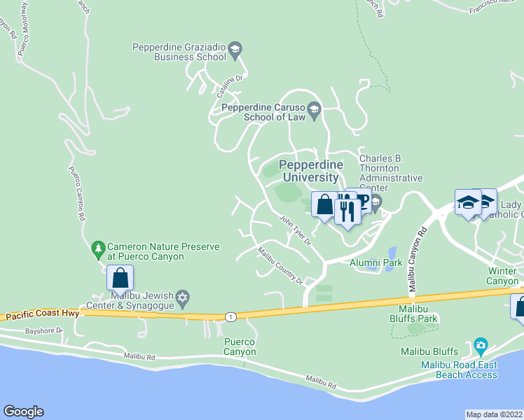 map of restaurants, bars, coffee shops, grocery stores, and more near 3516 Malibu Country Drive in Malibu