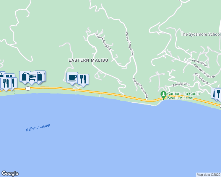 map of restaurants, bars, coffee shops, grocery stores, and more near 22065 Pacific Coast Highway in Malibu