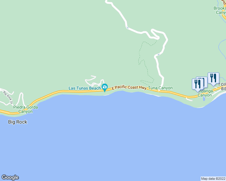 map of restaurants, bars, coffee shops, grocery stores, and more near 19306 Pacific Coast Highway in Malibu
