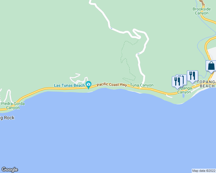 map of restaurants, bars, coffee shops, grocery stores, and more near 19216 Pacific Coast Highway in Malibu