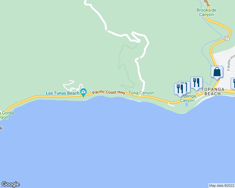 map of restaurants, bars, coffee shops, grocery stores, and more near 19126 Pacific Coast Hwy in Malibu