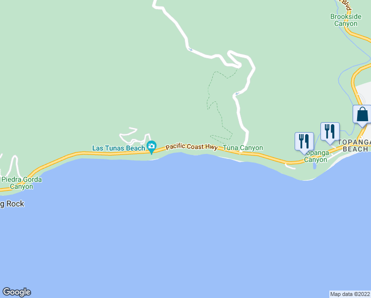 map of restaurants, bars, coffee shops, grocery stores, and more near 19214 Pacific Coast Highway in Malibu