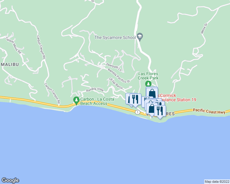 map of restaurants, bars, coffee shops, grocery stores, and more near 3958 Rambla Orienta Street in Malibu