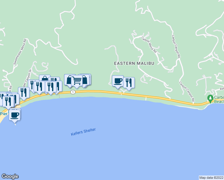 map of restaurants, bars, coffee shops, grocery stores, and more near 22347 Pacific Coast Highway in Malibu