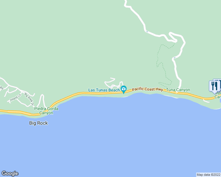 map of restaurants, bars, coffee shops, grocery stores, and more near 19433 Pacific Coast Highway in Malibu
