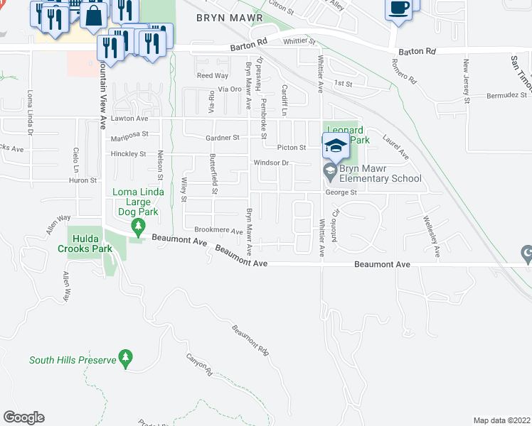 map of restaurants, bars, coffee shops, grocery stores, and more near 11763 Randolph Court in Loma Linda