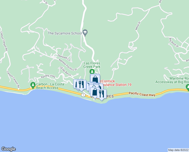 map of restaurants, bars, coffee shops, grocery stores, and more near 3806 Las Flores Canyon Road in Malibu