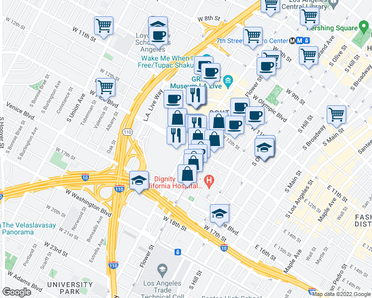 map of restaurants, bars, coffee shops, grocery stores, and more near 1300 South Figueroa Street in Los Angeles