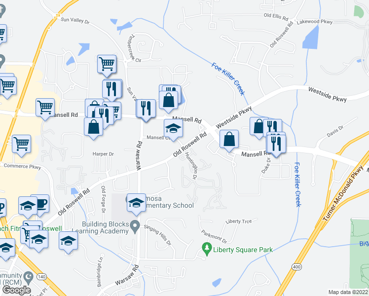 map of restaurants, bars, coffee shops, grocery stores, and more near 200 Mansell Court East in Roswell