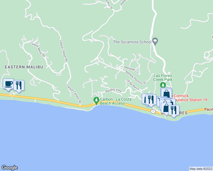 map of restaurants, bars, coffee shops, grocery stores, and more near 21613 Rambla Vista in Malibu