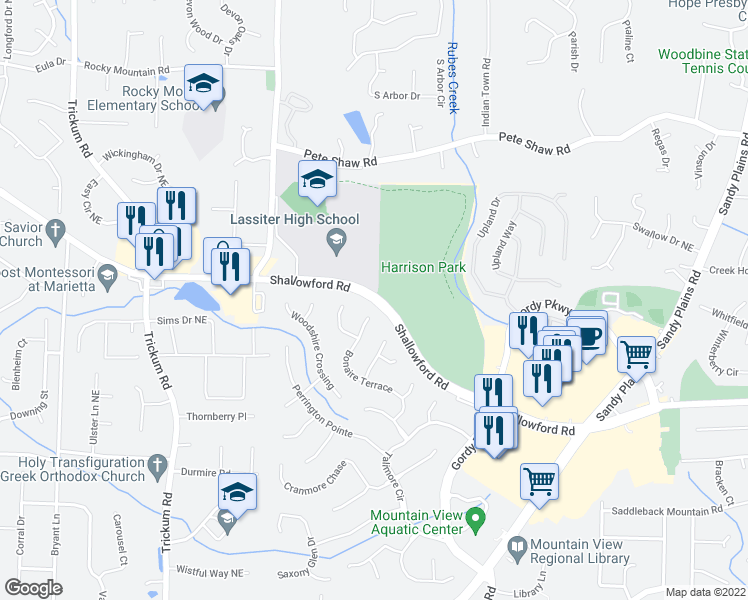map of restaurants, bars, coffee shops, grocery stores, and more near 2528-2756 Shallowford Road in Marietta