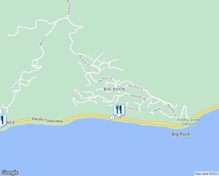 map of restaurants, bars, coffee shops, grocery stores, and more near 20573 Little Rock Way in Malibu