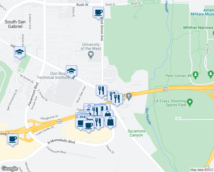 map of restaurants, bars, coffee shops, grocery stores, and more near 8617 Landis View Lane in Rosemead