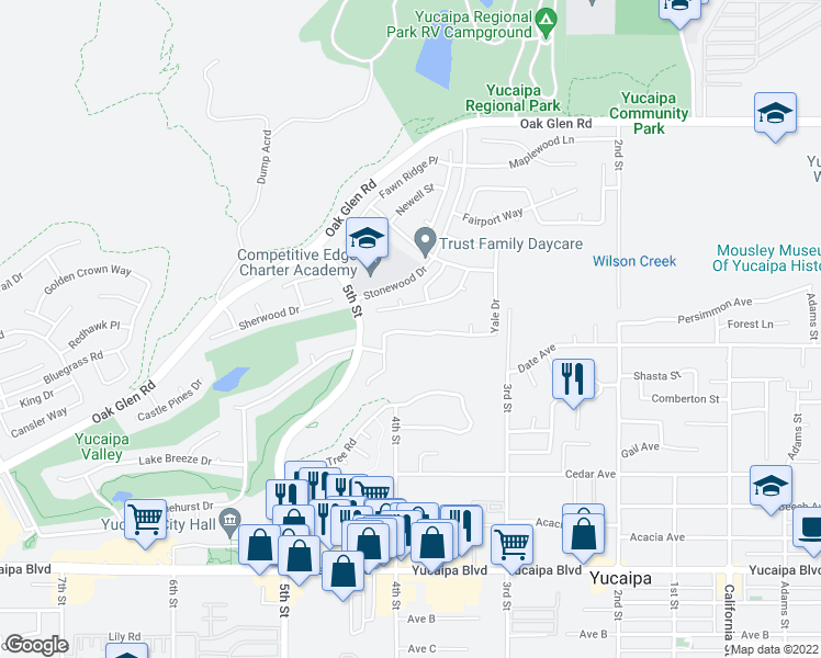 map of restaurants, bars, coffee shops, grocery stores, and more near 34512 Yale Drive in Yucaipa