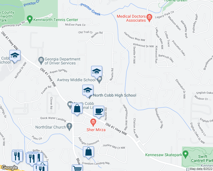 map of restaurants, bars, coffee shops, grocery stores, and more near 3577-3609 Nowlin Road in Kennesaw