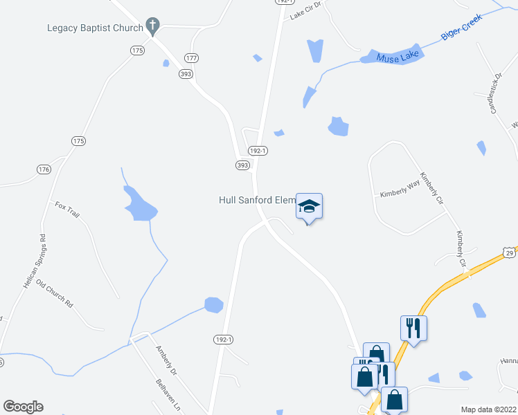 map of restaurants, bars, coffee shops, grocery stores, and more near Fortson Store Road in Hull