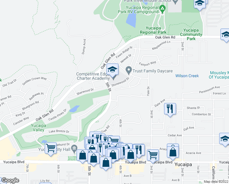map of restaurants, bars, coffee shops, grocery stores, and more near 34463 Princeton Drive in Yucaipa