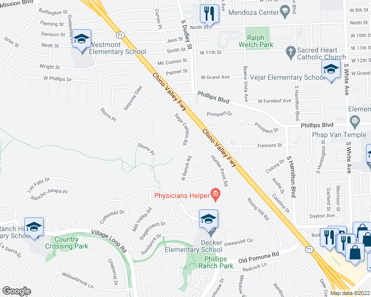 map of restaurants, bars, coffee shops, grocery stores, and more near 2 Sage Canyon Road in Pomona