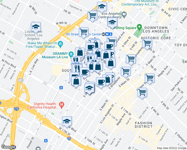 map of restaurants, bars, coffee shops, grocery stores, and more near 1000 South Grand Avenue in Los Angeles