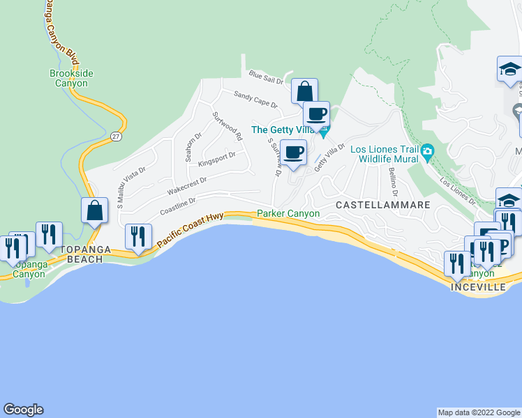 map of restaurants, bars, coffee shops, grocery stores, and more near 18042 Coastline Drive in Malibu