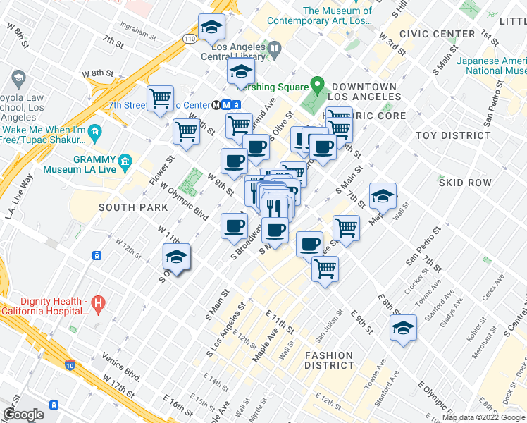 map of restaurants, bars, coffee shops, grocery stores, and more near 849 South Broadway in Los Angeles
