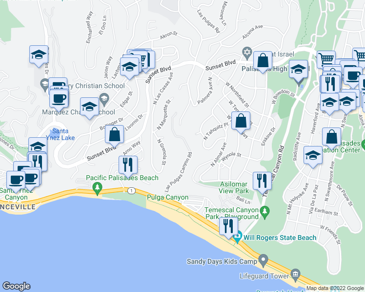 map of restaurants, bars, coffee shops, grocery stores, and more near 16421 Pacific Coast Hwy in Pacific Palisades