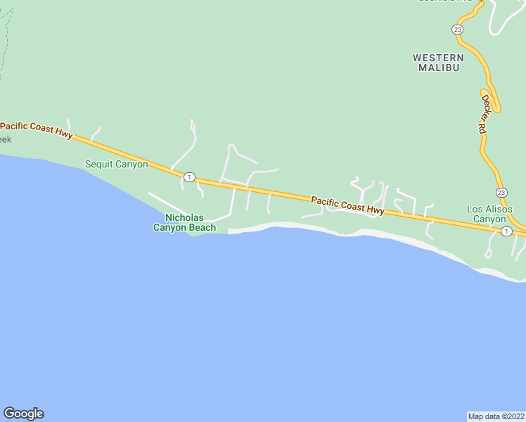 map of restaurants, bars, coffee shops, grocery stores, and more near 33740 Pacific Coast Highway in Malibu