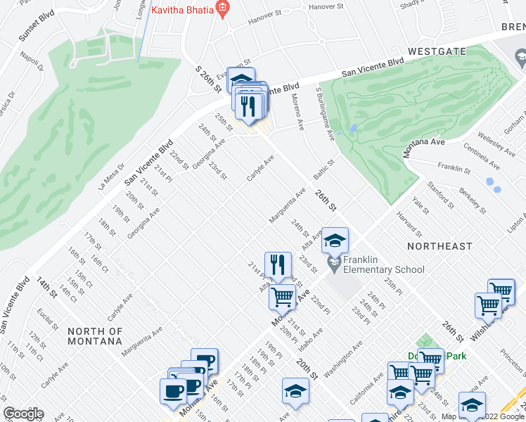 map of restaurants, bars, coffee shops, grocery stores, and more near 457 23rd Street in Santa Monica