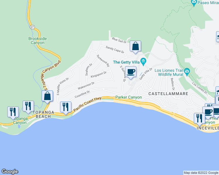 map of restaurants, bars, coffee shops, grocery stores, and more near 18103 Coastline Drive in Malibu