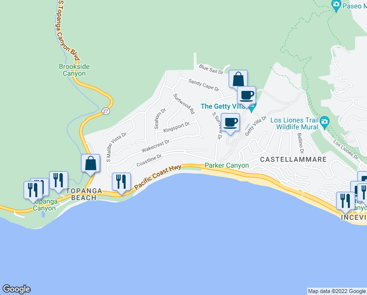 map of restaurants, bars, coffee shops, grocery stores, and more near 18133 Coastline Drive in Malibu