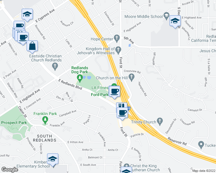 map of restaurants, bars, coffee shops, grocery stores, and more near 1440 Marshall Street in Redlands
