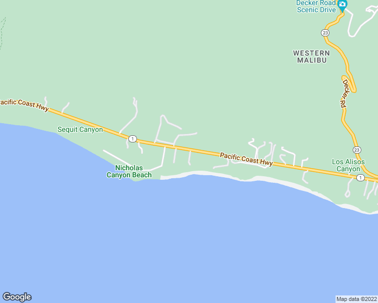 map of restaurants, bars, coffee shops, grocery stores, and more near 33744 Pacific Coast Hwy in Malibu