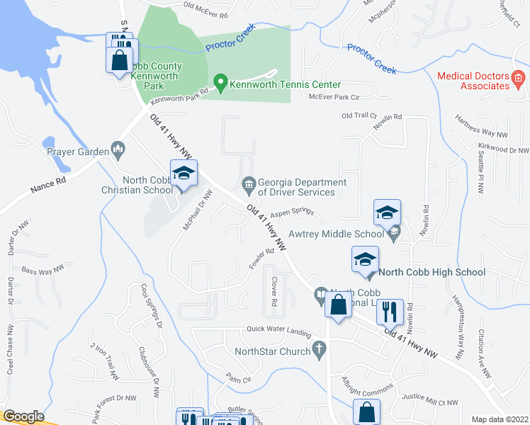 map of restaurants, bars, coffee shops, grocery stores, and more near 3840 Aspen Springs in Kennesaw