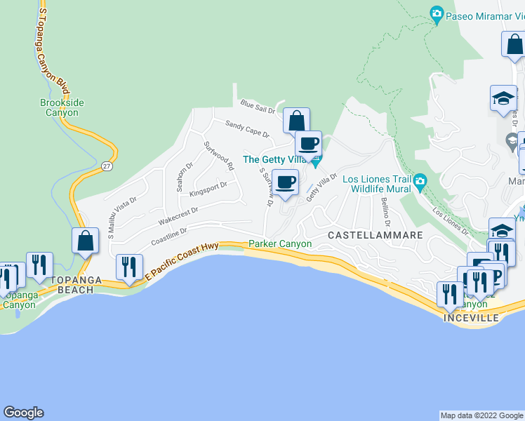 map of restaurants, bars, coffee shops, grocery stores, and more near 181 Surfview Dr in Los Angeles
