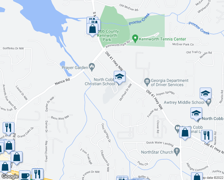 map of restaurants, bars, coffee shops, grocery stores, and more near 3610 Lakeview Place Northwest in Kennesaw