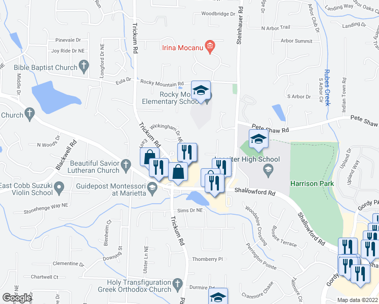 map of restaurants, bars, coffee shops, grocery stores, and more near 3876 Manhassett Place Northeast in Marietta