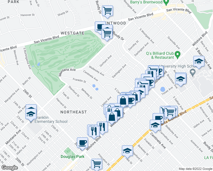 map of restaurants, bars, coffee shops, grocery stores, and more near 951 South Carmelina Avenue in Los Angeles
