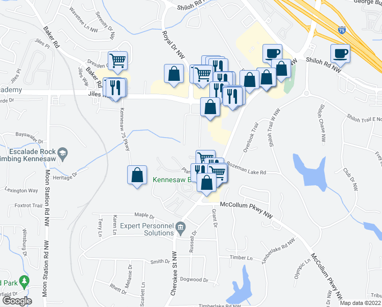map of restaurants, bars, coffee shops, grocery stores, and more near 1124 Shiloh Lane in Kennesaw
