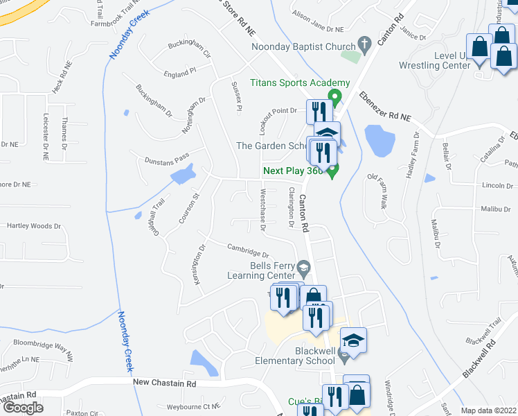 map of restaurants, bars, coffee shops, grocery stores, and more near 3779 Westchase Drive in Marietta