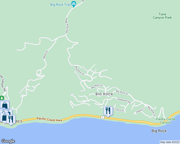 map of restaurants, bars, coffee shops, grocery stores, and more near 3648 McAnany Way in Malibu
