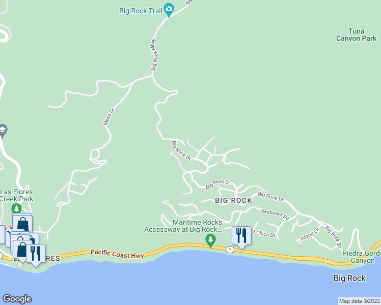 map of restaurants, bars, coffee shops, grocery stores, and more near 20851 Big Rock Drive in Malibu
