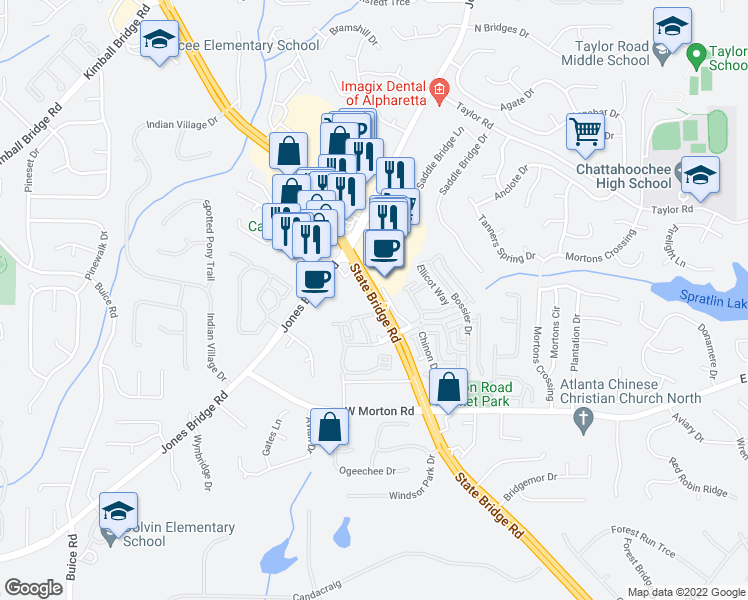 map of restaurants, bars, coffee shops, grocery stores, and more near 208 Cameron Bridge Way in Alpharetta
