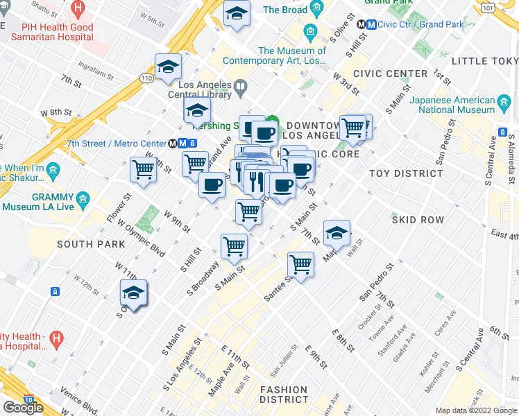 map of restaurants, bars, coffee shops, grocery stores, and more near 314 West 7th Street in Los Angeles