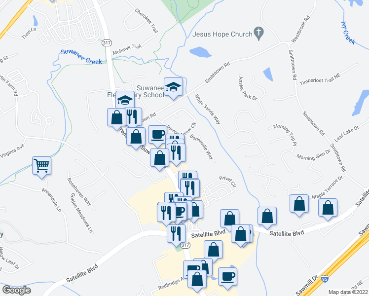 map of restaurants, bars, coffee shops, grocery stores, and more near 3477 Lawrenceville-Suwanee Road in Suwanee