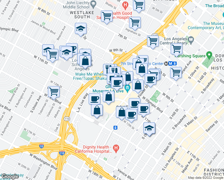map of restaurants, bars, coffee shops, grocery stores, and more near 900 West Olympic Boulevard in Los Angeles