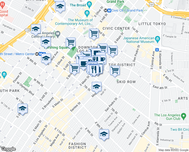 map of restaurants, bars, coffee shops, grocery stores, and more near 121 East 6th Street in Los Angeles